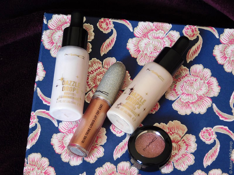 M.A.C. Cosmetics | Get Blazed Collection - Deliciously Disruptive Glitter Top Coat The Bling Thing Liquid Matte Metallic - Glitz Please Shiny Pretty Glitter Eyeshadow - Dazzle Drops Liquid Highlighter Dazzlepink & DazzlePeach - Review & Swatches - Avis