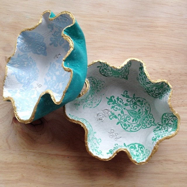 Diy Stamped Clay Bowls from Healthy Nibbles & Bits.