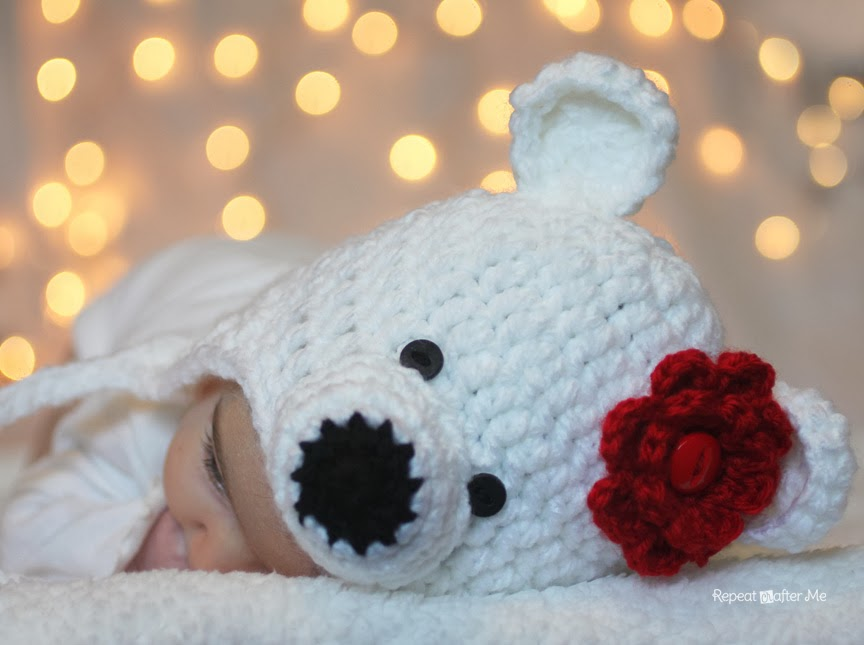 Crochet polar bear hat pattern repeat crafter me now excuse me while i photo bomb you with pictures of my baby wearing her new polar bear hat dt1010fo