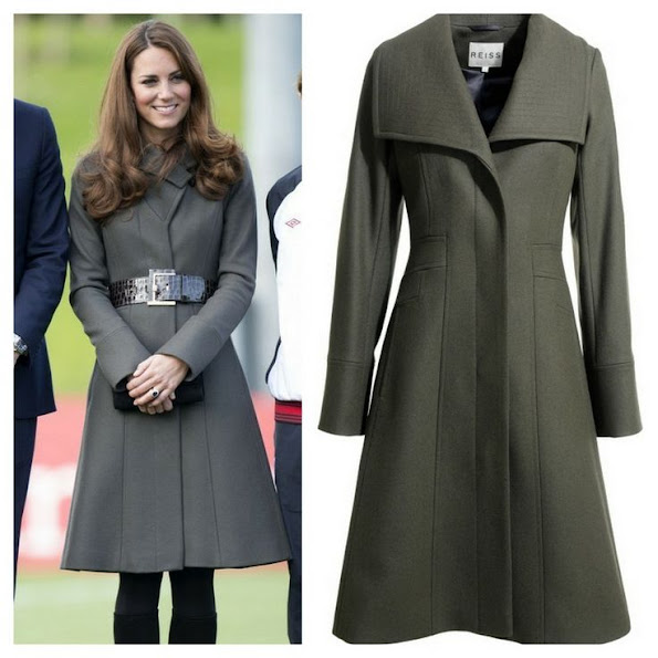 Kate Middleton wore Reis Angel wool coat. Reiss is a UK-based fashion brand by the founder, David Reiss