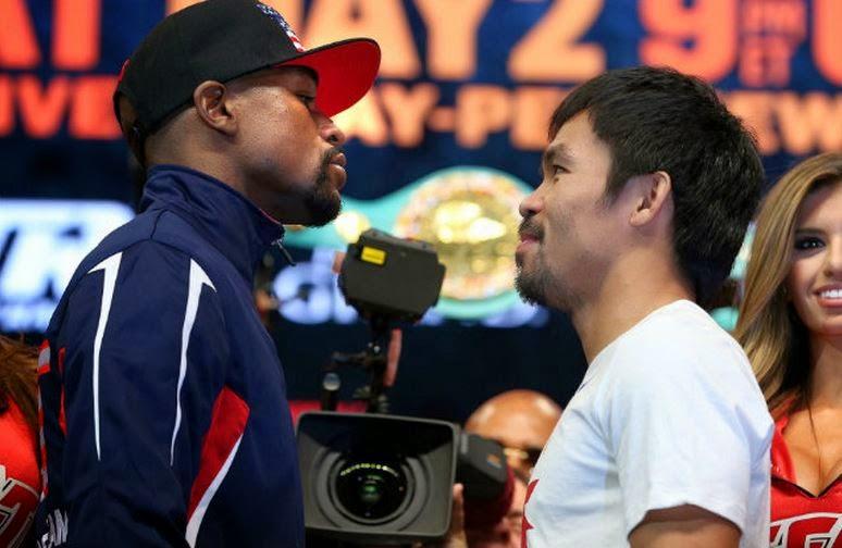 Pacquiao and Mayweather in their final staredown