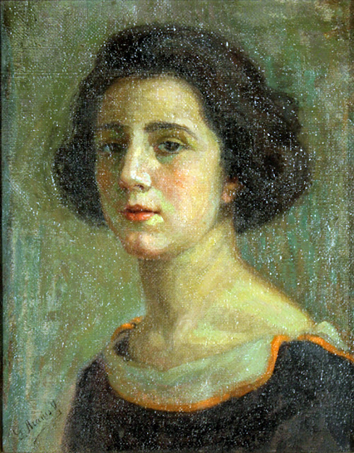 Graciela Aranis Valdivia de Brignoni, Self Portrait, Graciela Aranis, Portraits of Painters, Fine arts, Portraits of painters blog, Aranis Valdivia de Brignoni, Paintings of Graciela Aranis, Painter  Graciela Aranis