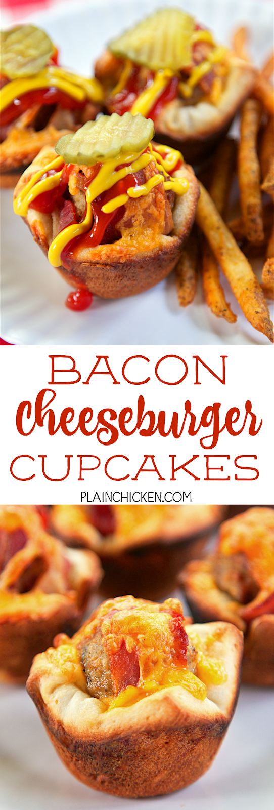 Bacon Cheeseburger Cupcakes - only 4 ingredients! Refrigerated pizza crust, frozen meatballs, precooked bacon and cheese. Ready in minutes! Great for a quick lunch, dinner or tailgating!! Everyone loves these! Can freeze leftovers for later.