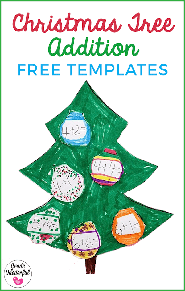 Christmas Tree Addition Freebies: Christmas tree art project and math lesson combined. Perfect for K to 2. Includes free templates AND a free clip art Christmas tree with presents.
