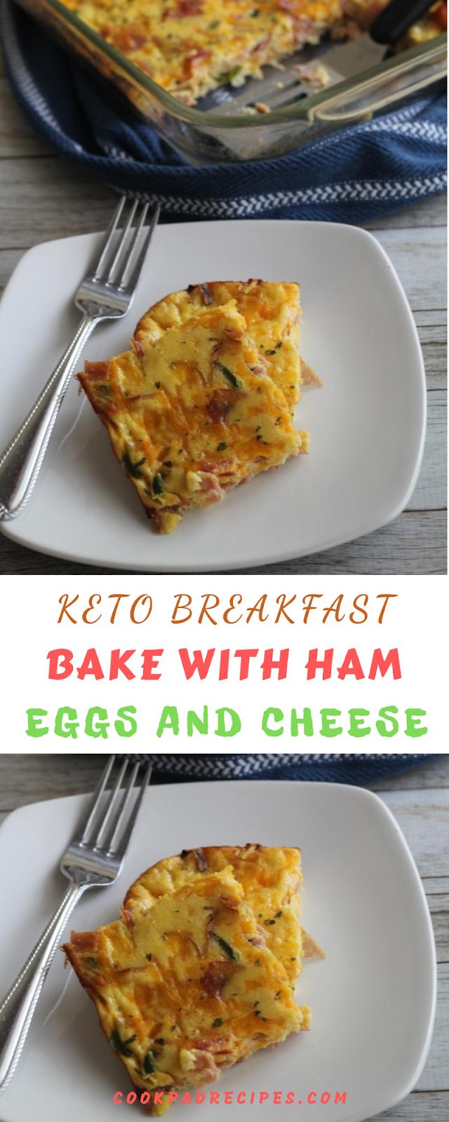 KETO BREAKFAST BAKE WITH HAM, EGGS AND CHEESE RECIPE
