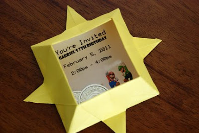 origami star super mario bros invitation
