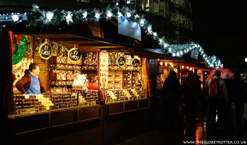 Food and Drink stalls at Christmas by the River in London