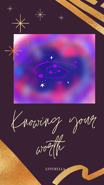 Galaxy and stars with writing reading knowing your worth