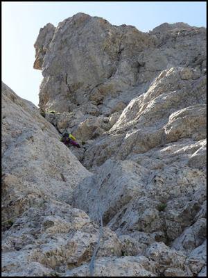 Escalando en el Pedraforca, vía Homedes al Gat