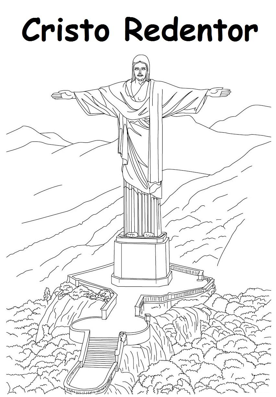 Extremamente Blog de Geografia: Cristo Redentor - Desenhos para Imprimir e Colorir TQ36