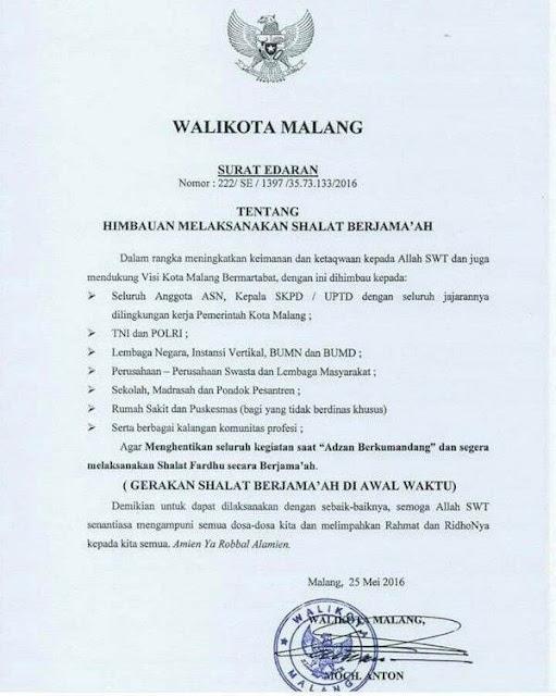 Subhanallah, Walikota Ini Himbau Shalat Berjamaah Lewat Surat Edaran