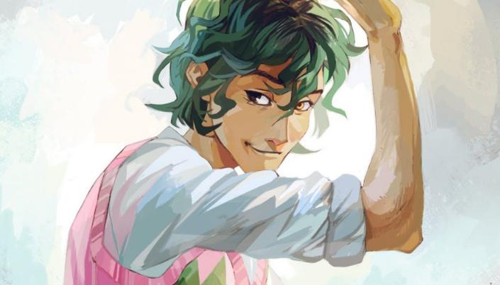 Imagem: ilustração oficial de Alex Fierro, um adolescente com cabelos longos e verdes, usando uma blusa branca por baixo de um suéter rosa com detalhes verdes e os olhos de cores diferentes, um castanho e o outro claro e sorrindo enquanto ergue o braço.