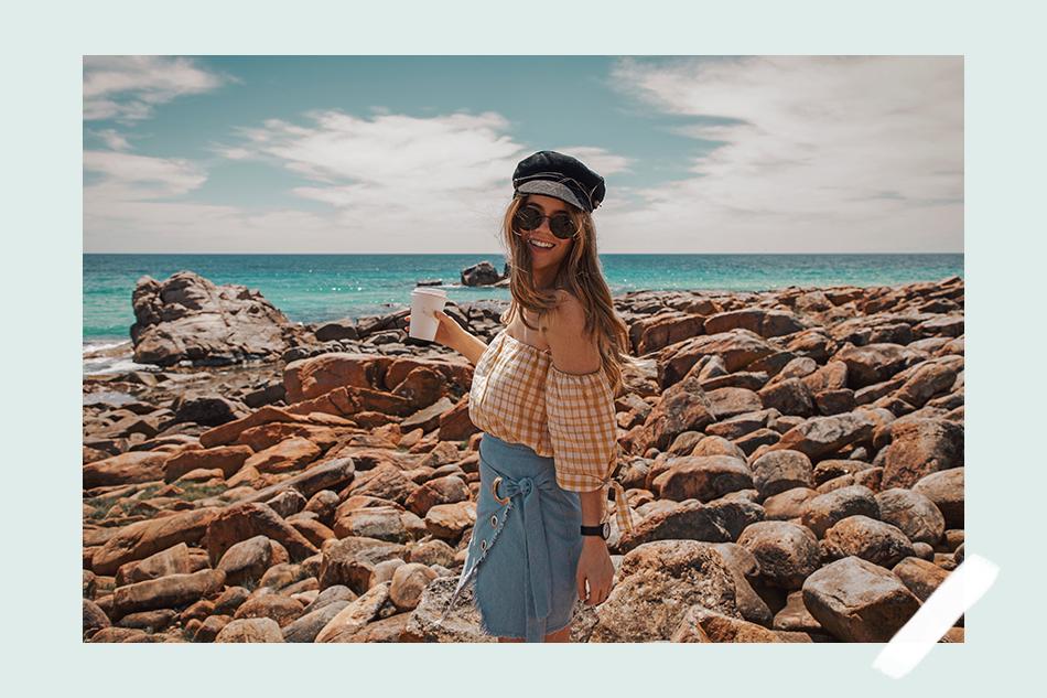 Australia's South West, Margaret River, white Havaianas, wrap skirt, yellow off shoulder top