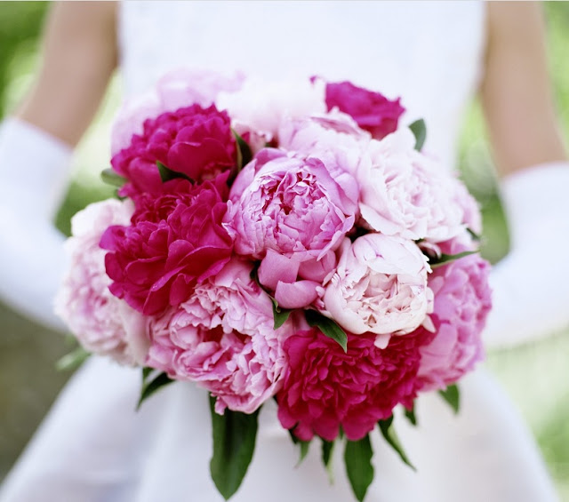 bride with a bouquet of flowers in hand