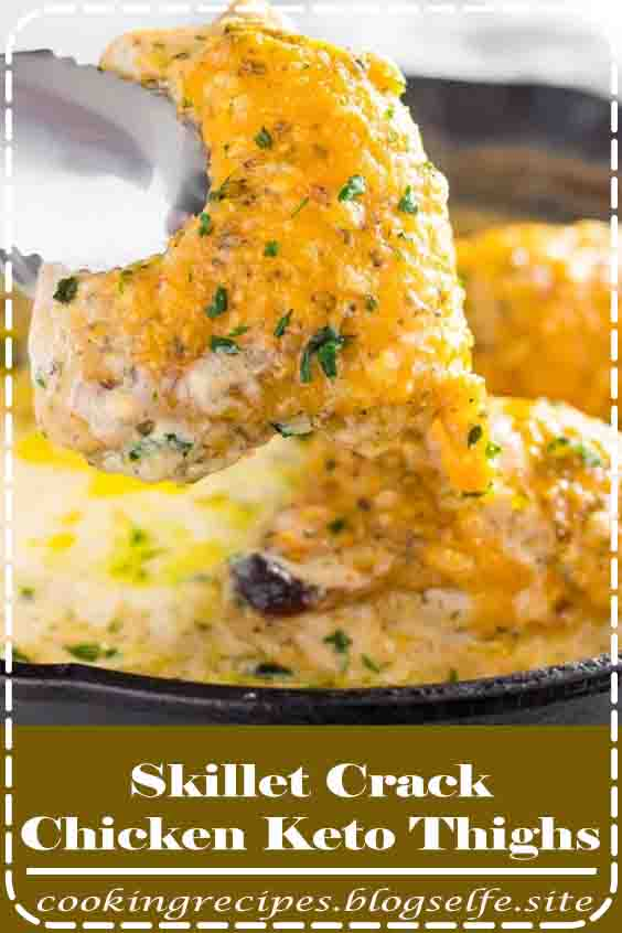 4.9 ★★★★★ | Crack chicken keto thighs made on the stove top in a skillet. Featuring a creamed ranch sauce and topped with melted cheddar cheese. These chicken thighs are creamy and delicious! #healthy recipes #dinner #chicken #low carb