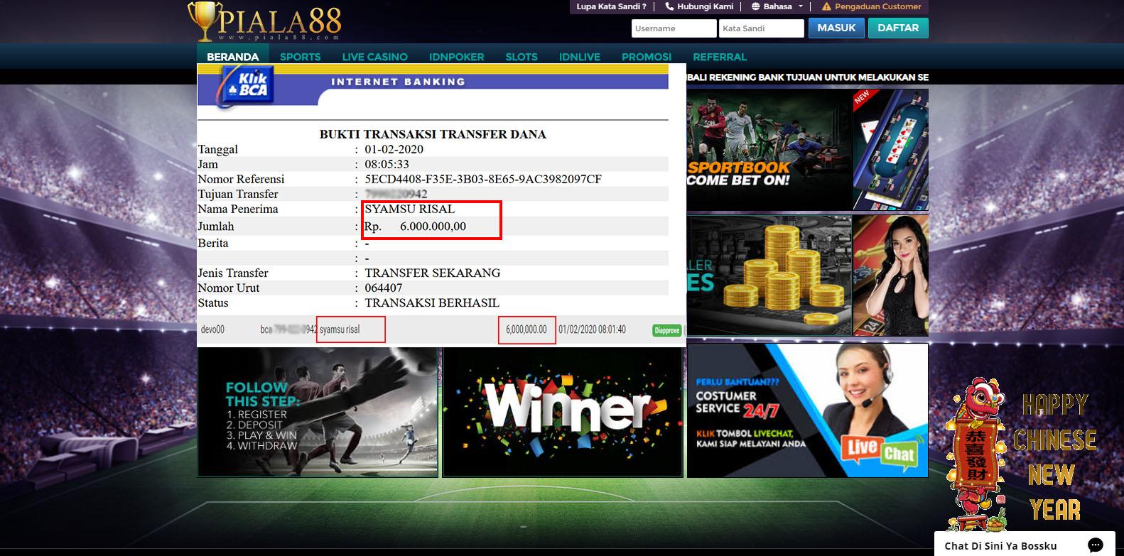 Selamat Kepada Member Setia PIALA88 Withdraw RP 6.000.000