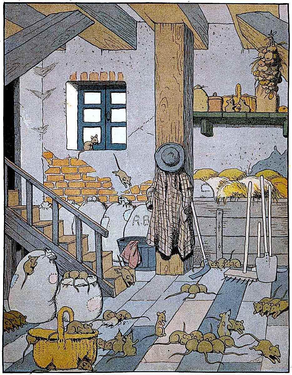 Benjamin Rabier 1909 children's book, many mice in a cellar