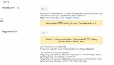 Proses peralihan HTTP ke HTTPS Blogger