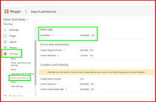 How to add Meta tags description to your blogger, Step 2: Go to Settings> Search preferences