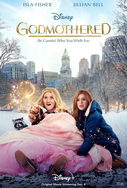 Godmothered poster featuring the two main characters, Eleanor and Mackenzie, in a pile of snow