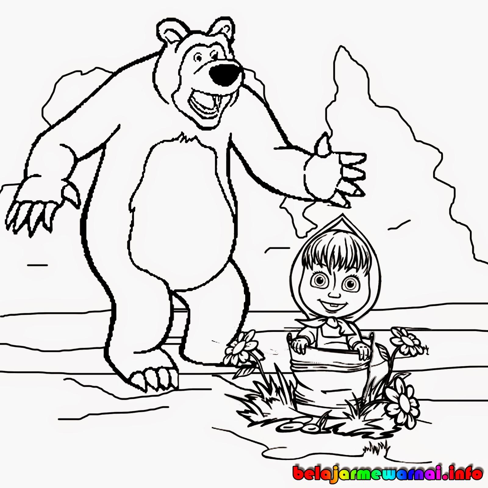 Gambar Mewarnai Masha & The Bear Gambar Mewarnai Lucu