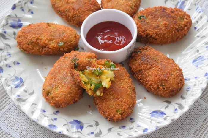 Cheesy Vegetable Cutlets - Easy Evening Snack Recipe - चीज़ी वेजिटेबल कटलेट्स - आसान नाश्ता रेसिपी - Priya R - Magic of Indian Rasoi