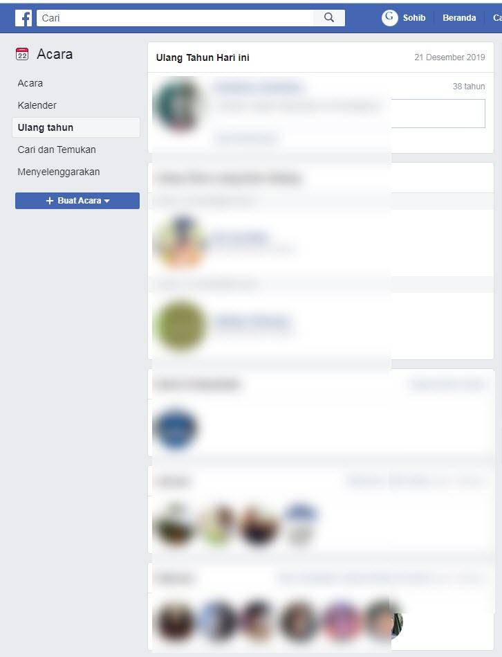lihat siapa yang ulang tahun di facebook pc