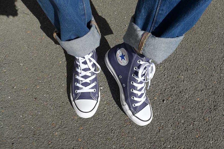 converse bleu montante blue