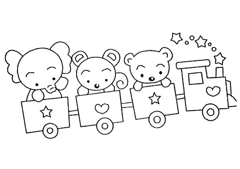 Hình tô màu đoàn tàu hỏa cho các bạn voi và gấu