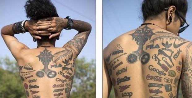 Keren! Pemuda Ini Menjadi Milioner Berkat 189 Tato Berlogo Perusahaan di Tubuhnya.