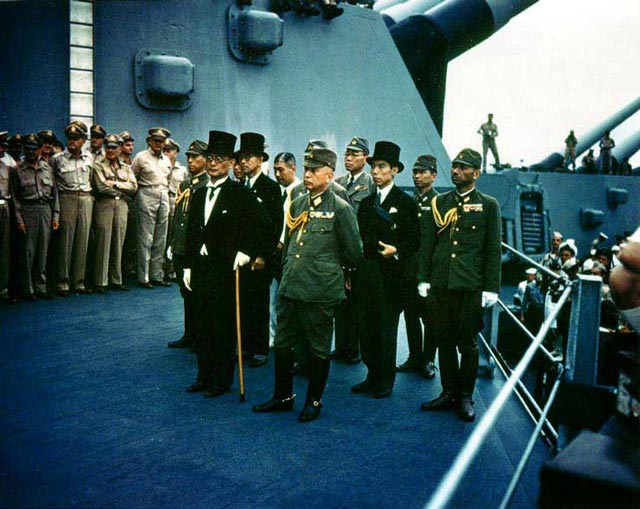 Japanese surrender ceremony aboard the USS Missouri on 2 September 1942 worldwartwo.filminspector.com