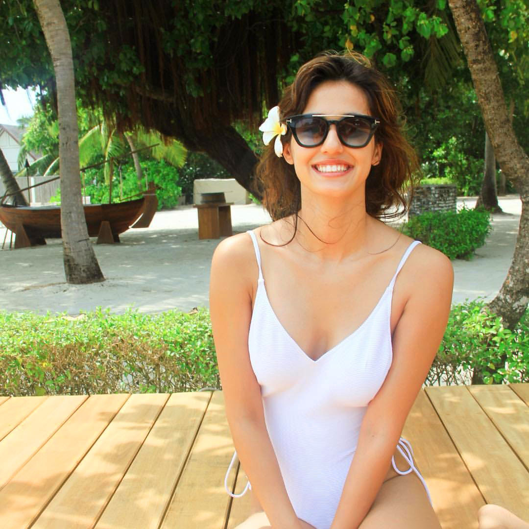 Disha Patani in a white Swimsuit
