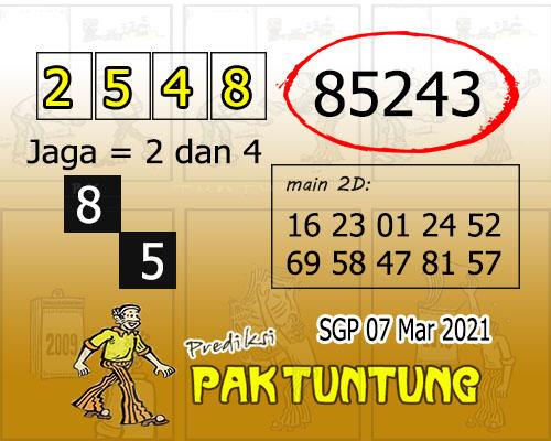 Syair SGP Minggu 07 Maret 2021 -