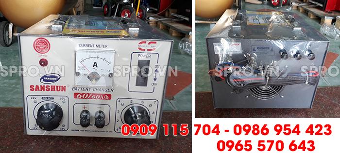 Máy sạc bình ắc quy giá rẻ sanshun 60A cho tiệm sửa xe máy, head Honda