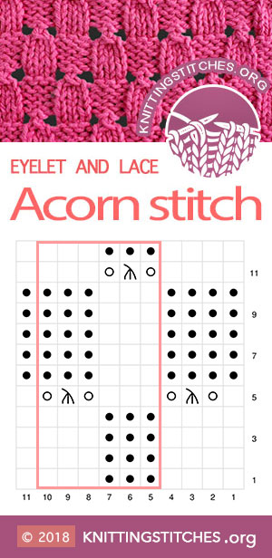 Acorn Eyelet Lace, Lace chart, Knitting Chart. Knitting Pattern for Cardigan, Sweater, Baby Sweater
