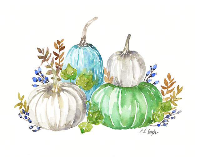 fall pumpkins watercolor painting by Elise Engh