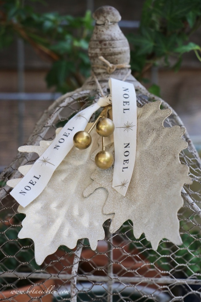 gold berry leaves ornament makeover after photo