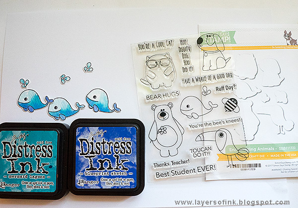 Layers of ink - Clear Whale Card by Anna-Karin with Simon Says Stamp Encouraging Animals