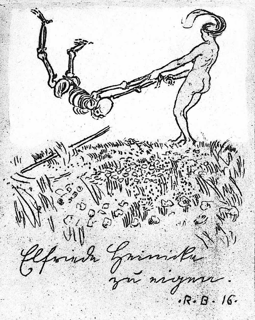 a Robert Budzinski 1916 bookplate of a woman laughing at death
