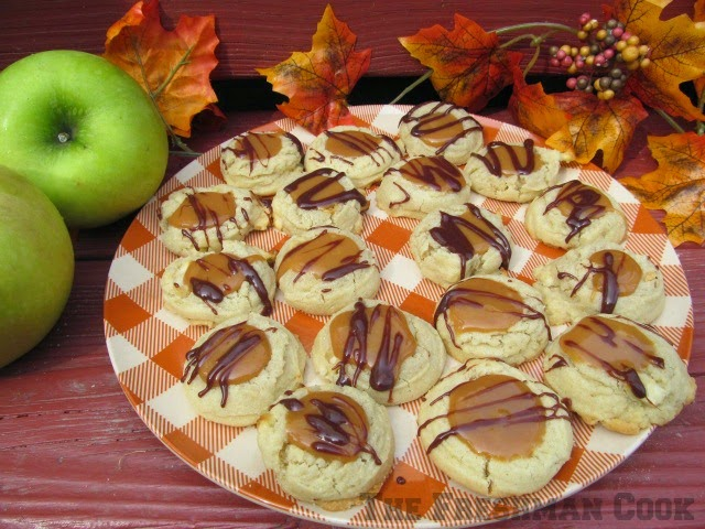 Chocolate Caramel Apple Thumbprint Cookies