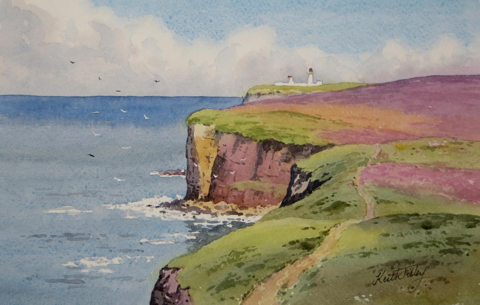 Dunnet Head, the most northerly point in Scotland. A landmark on the North Coast 500 route. Original watercolour.