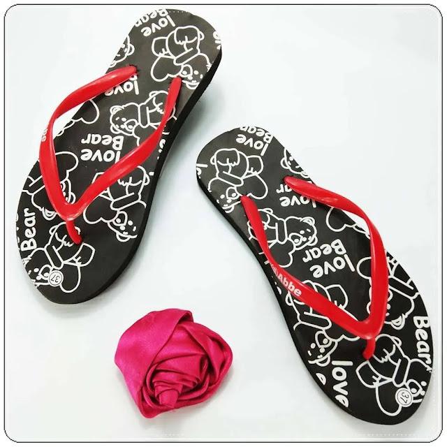 Grosir Sandal Termurah - Sandal Love Bear Spon Cewe AB