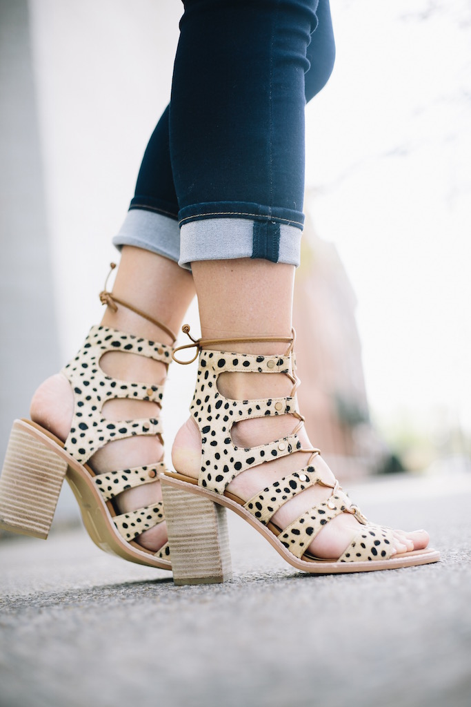 KBStyled: cheetah heels cheetah sandals lace up sandals