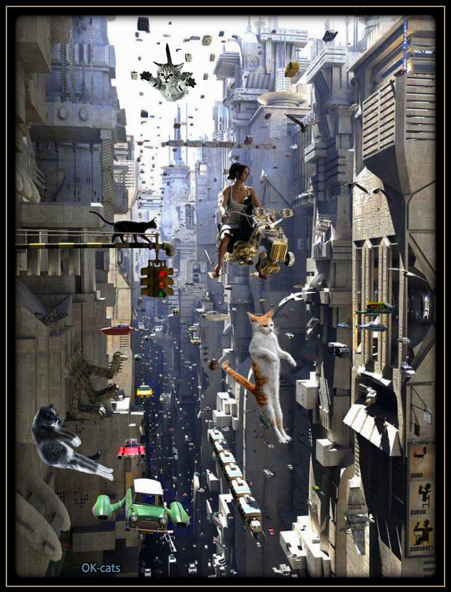 Art Cat GIF • Future city life in Main Street: cats floating in the air. Amazing and great mix of SCi-Fi Fantasy and vintage.