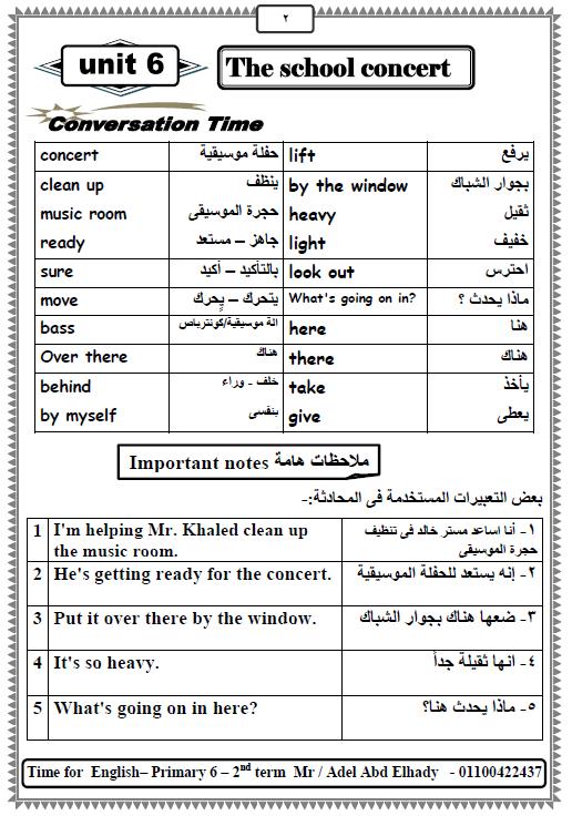 مذكرة مراجعة مادة اللغة الإنجليزية