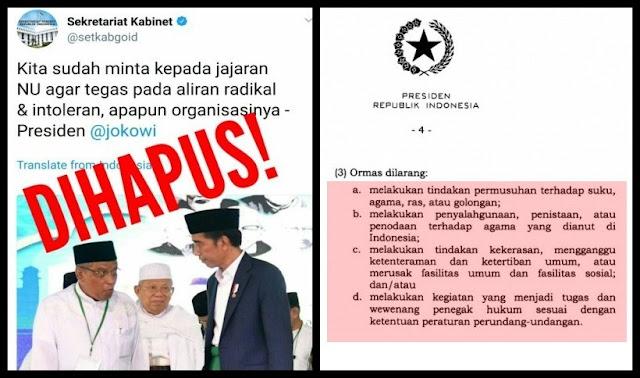 Pernyataan Presiden Jokowi yang Ditwitkan Setkab Bertentangan dengan Perppu Ormas
