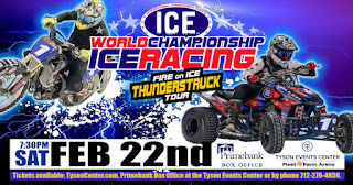 a motorcycle, quad racer, and ice in the background, with information about the ice racing event at the Tyson Events Center on February 22nd, 2020