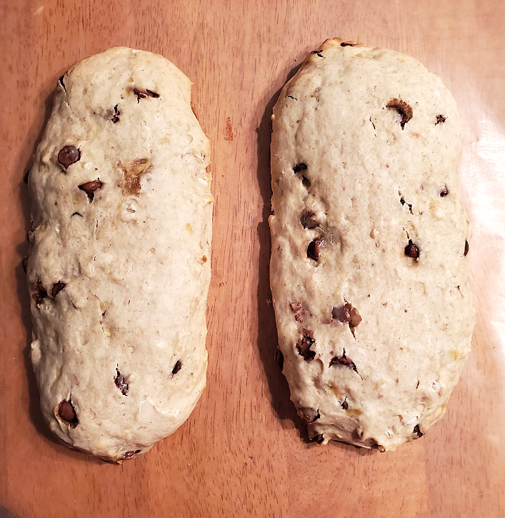 this is two loaves of banana biscotti uncut