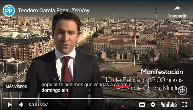 fotograma del vidéo de Teodoro Garcia Egea invitandote a colom