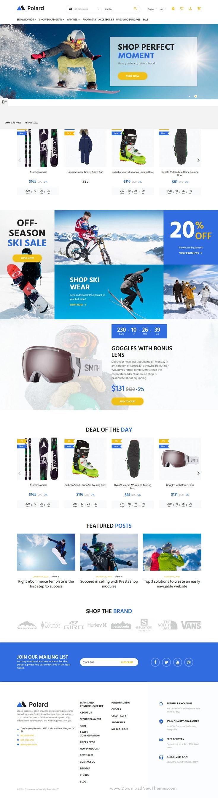 Extreme Sports Clothing Equipment PrestaShop Theme
